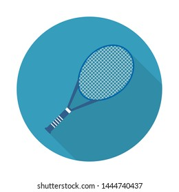 Icon tennis rocket. Flat icon with long shadow for web and mobile applications. It can be used as - logo, pictogram, icon, infographic element.
