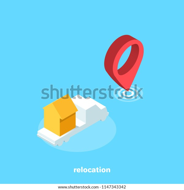 icon of a truck carrying a house from one place to another, an isomeric image