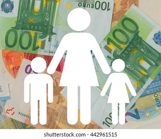 Icon of woman and children over Euro banknotes. Financial situation of lone mother after becoming a widow, divorce or pregnancy outside of wedlock. Woman and her economical responsibility for children