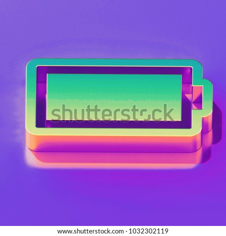 Icon of yellow green battery full with gold and pink reflection on the  glamour purple background 3b3b24583b