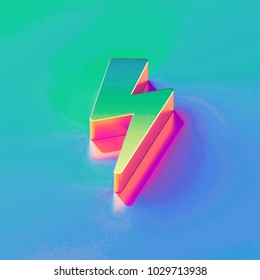 Icon of yellow green flash (bolt) with gold and pink reflection on the brilliant blue green background. 3D illustration of network Bolt, flash, lightning, lights, storm, thunder isometric icon.