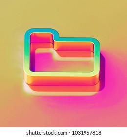 Icon of yellow green folder with gold and pink reflection on the bright yellow rose background. 3D illustration of graphic document, file, word, text, download isometric icon.