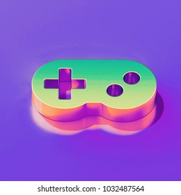 Icon of yellow green gamepad with gold and pink reflection on the glamour purple background. 3D illustration of creative Controller, game, gamepad, gaming, joystick, video isometric icon.