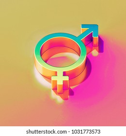 Icon of yellow green Gender transgender with gold and pink reflection on the bright yellow rose background. 3D illustration of graphic Gender, gender symbol, sex, transform, transgender isometric ico