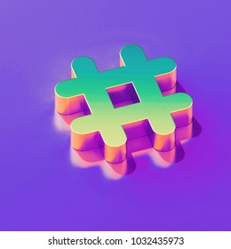 Icon of yellow green hashtag with gold and pink reflection on the glamour purple background. 3D illustration of creative Hash, hash mark, hashtag, tag, topic, trending isometric icon.