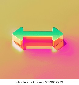 Icon of yellow green horizontal arrows with gold and pink reflection on the bright yellow rose background. 3D illustration of graphic Arrows, bi directional, horizontal, pass isometric icon.