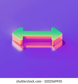 Icon of yellow green horizontal arrows with gold and pink reflection on the glamour purple background. 3D illustration of creative Arrows, bi directional, horizontal, pass isometric icon.
