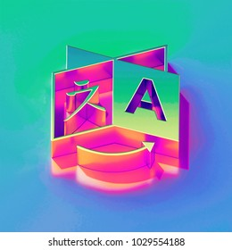 Icon of yellow green language with gold and pink reflection on the brilliant blue green background. 3D illustration of network Global, globe, international, internet, language, travel isometric icon