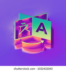 Icon of yellow green language with gold and pink reflection on the glamour purple background. 3D illustration of creative Global, globe, international, internet, language, travel isometric icon.