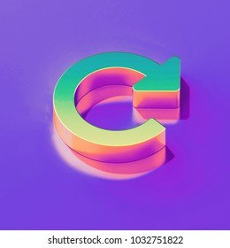 Icon of yellow green replay with gold and pink reflection on the glamour purple background. 3D illustration of creative Arrow, refresh, reload, replay isometric icon.