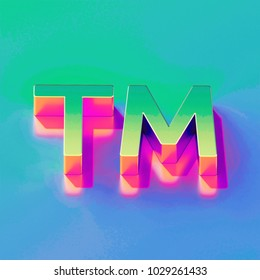 Icon of yellow green trademark (TM) with gold and pink reflection on the brilliant blue green background. 3D illustration of network Identity, product, service mark, sign, tm, trade m isometric icon