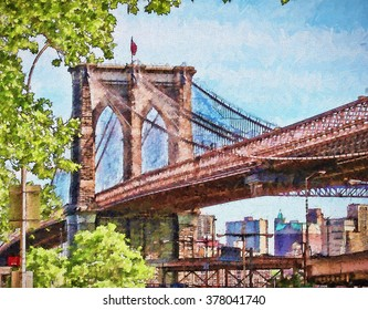 The iconic Brooklyn Bridge of New York City turned into a colorful painting