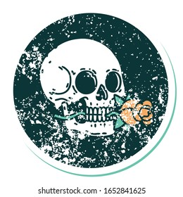 iconic distressed sticker tattoo style image of a skull and rose