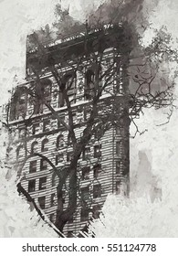 The iconic Flatiron building in New York City transformed into a monochrome painting