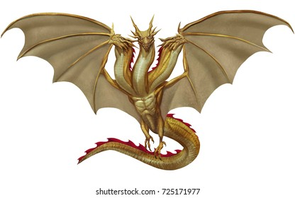 Iconic Golden Triple Heads Dragon Flying