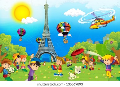 The iconic and historical architecture of Europe-  with children - the Eiffel tower in Paris - illustration for the children