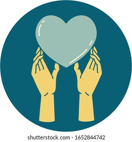 iconic tattoo style image of hands reaching for a heart