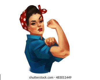 Iconic woman's fist/symbol of female power and industry. Modern design inspired by classic american poster isolated on a white background