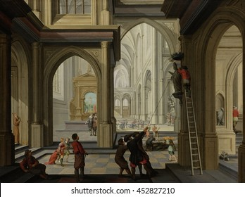 Iconoclasm in a Church, by Dirck van Delen, 1630, Dutch painting, oil on panel. In August 1566 fanatic Protestants destroyed altarpieces, statues and sacred vessels used for the Catholic Mass in chur