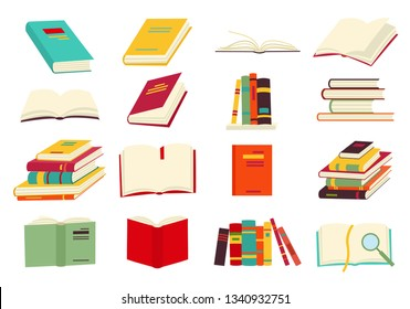 Icons of books  set in a flat design style. Books in a stack, open, in a group, closed, on the shelf. Reading, learn and receive education through books