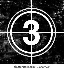 Icons of circled white numbers for movie countdown on black grunge background, available as single huge image and as full set