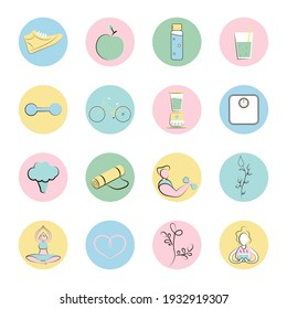 Icons and covers for a sports blog.  Sports equipment, yoga and fitness.