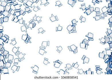 """A lot of icons falling """"like"""" with a raised finger. 3d illustration"""