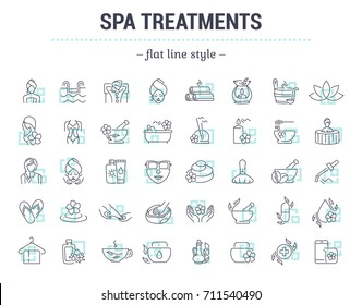 Icons in flat, contour, thin and linear design. Spa treatment. Alternative medicine. Simple isolated icon on background. Concept illustration for Web site, app. Sign, symbol, element. Raster version.