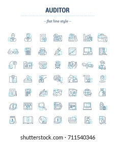 Icons in flat, contour, thin, minimal and linear design. Audit. Management of financial statements, payments. Monitoring of accounting. Concept illustration for Web site. Sign, symbol. Raster version.
