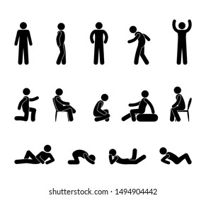 icons of people, stick figure man pictogram, people stand, sit, lie in various poses, isolated silhouettes of human bodies
