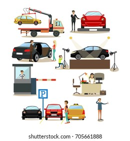 Icons set of car shop, car show, parking lot design elements with people drivers, buyers and sellers cartoon characters isolated on white background. Flat style design elements.