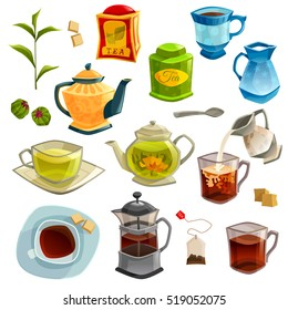 Icons set with kinds of tea brewing methods and accessories for tea isolated on white background  illustration