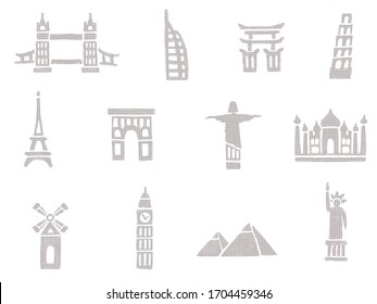 Icons set tourist attractions, illustration architectural monuments and famous places on white background