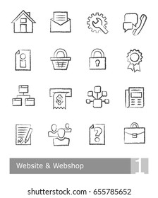 Icons set for website and webshop; charcoal drawings on white background