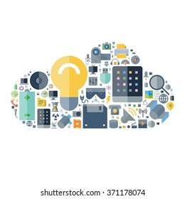 Icons for technology and electronic devices arranged in cloud shape.