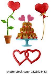 Icons for valentines day. Two intertwined hearts, wedding cake, red balloon and flower in form of heart. Handmade with  clay. Isolated on white background – Illustration 3D