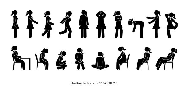icons woman standing, walking, sitting, running, various poses and gestures, stick figure icon female silhouette, set of signs