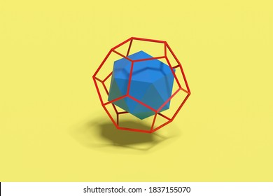 Icosahedron within wire dodecahedron. Platonic solids. 3d illustration.