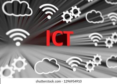 ICT concept blurred background 3d render illustration