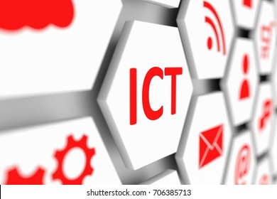 ICT conceptual cell blurred background 3d illustration