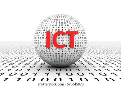 ICT conceptual sphere binary code 3d illustration