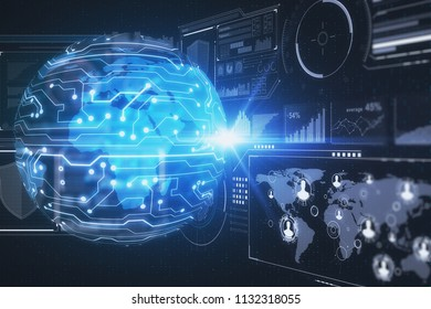 ICT, information and communications technology concept with globe layout, microcircuit at cyberspace digital background. 3D rendering