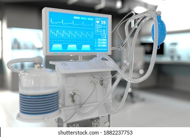 ICU artificial lung ventilator with fictive design in bright hospital with bokeh - fight corona virus concept, medical 3D illustration