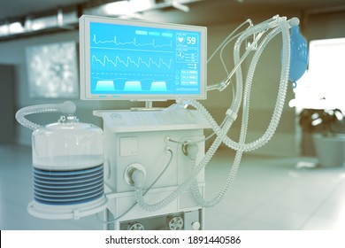 ICU artificial lung ventilator with fictive design in modern hospital with selective focus - fight coronavirus concept, medical 3D illustration