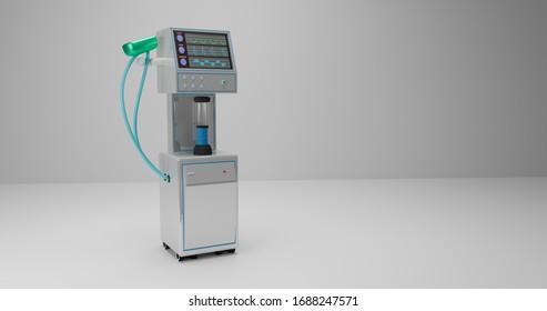 ICU ventilator machine on white background. 3D illustration render