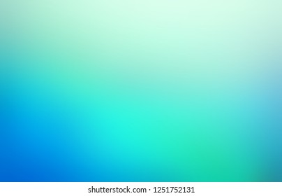 Icy glow defocus illustration. Blue turquoise ombre background. Blurred pattern. Cold water abstract texture.