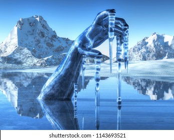 An icy hand reaches forth from a frozen river in an icy land. Icicles hang from the fingertips. 3D Rendering