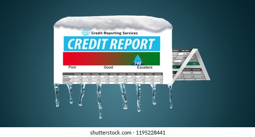 An icy, snow covered credit report in a snowstorm illustrates the idea of freezing your credit report. This is a credit freeze and is an illustration.