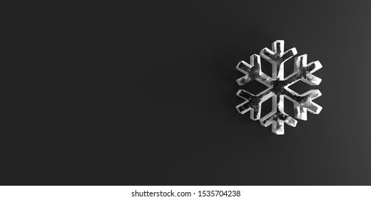 Icy Snowflake Icon on black wall. 3D Rendering