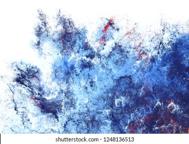 Icy texture. Blue artistic splashes. Abstract cold painting pattern. Bright texture for creative graphic design. Futuristic background for poster, cover booklet, banner. Fractal art